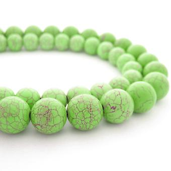 Strand 38+ Pale Green Howlite 10mm Dyed Plain Round Beads GS2479-3