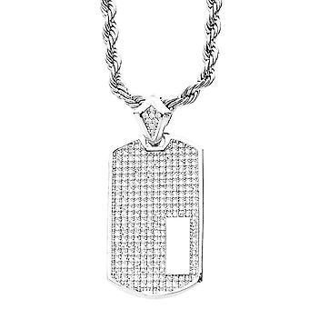Iset ut bling mikro pave anheng - hunden TAG sølv