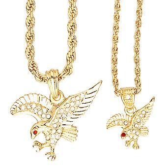 Iced out bling mini chain pendant set - 2 x Eagle gold