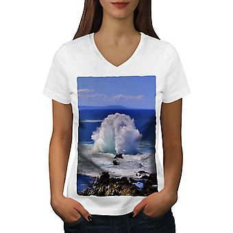 Water Spring Photo Women WhiteV-Neck T-shirt | Wellcoda