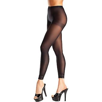 Be Wicked BW696 Opaque black footless pantyhose with lace trim