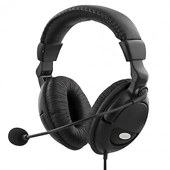 Deltaco Headset with microphone and volume control 2 m Cable, Black