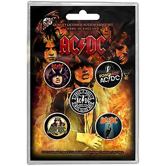 AC/DC distintivos de 5 pinos no Pack primeiros álbuns