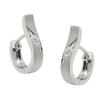 Creole 14x3mm hinged flip top mat with Zircons 9Kt white gold