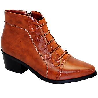 Belmont Ladies Elasticated Slip On Low Block Heel Ankle Boots Shoes