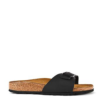 Birkenstock Madrid Black Buckle Flat Sandal
