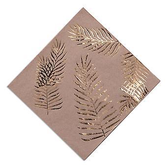 Kraft marrón servilletas con hoja oro frustrado x 16 Tropical Chic