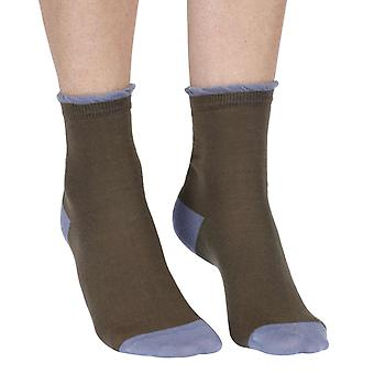 Frilly women's luxury cotton ankle sock in moss green | By Corgi