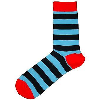 Bassin et brun capuche rayé contrasté talon et orteil chaussettes - bleu/noir