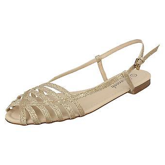 Sandalias de las señoras sabana plana brillo