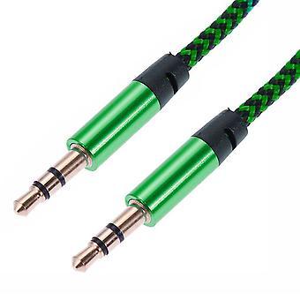 1 m tejido de 3,5 mm Aux Cable verde