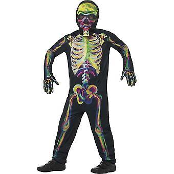 Świeci w ciemnym stroju szkielet, wielokolorowe, z Body, maska idealna rękawice