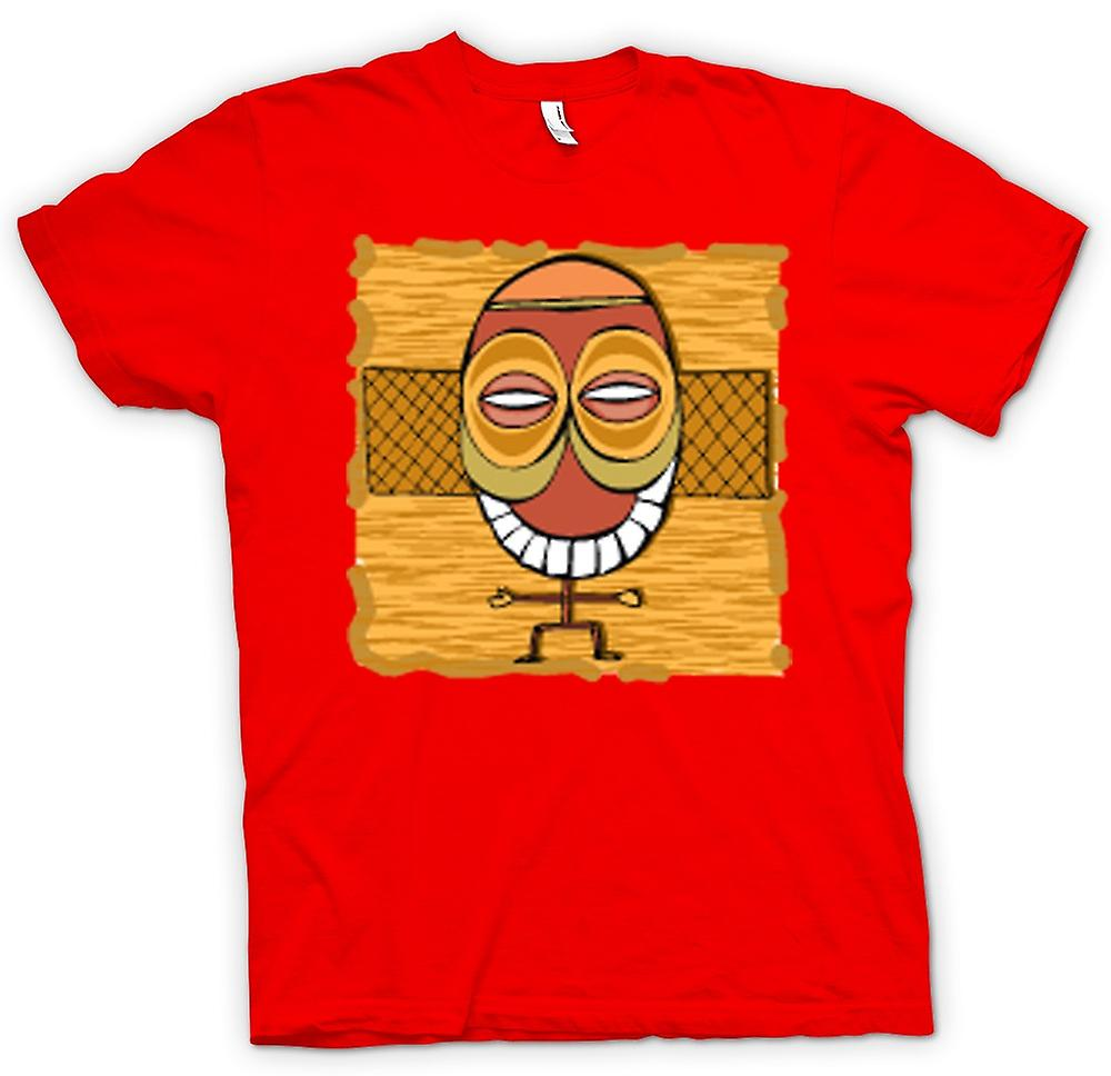 Herr T-shirt - Zulu Tribal Mask ritning