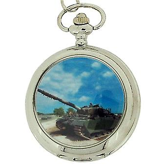 Boxx Gents White Dial Army Tank Pocket Watch on 12 Inch Chain Boxx93