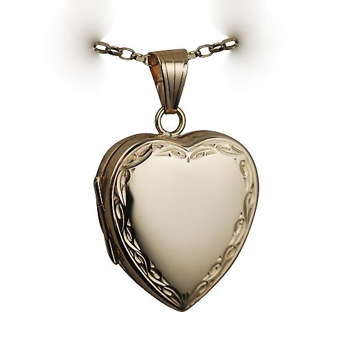 9ct Gold 24x20mm hand engraved scroll edge plain centre heart shaped Locket with a belcher Chain 16 inches Only Suitable for Children