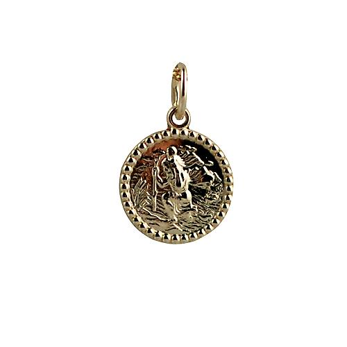 9ct Gold 13mm round St Christopher
