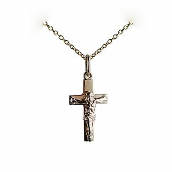 9ct Gold 17x10mm solid block Crucifix Cross with a cable Chain 16 inches Only Suitable for Children