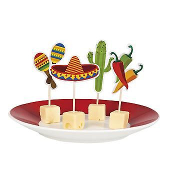 Pack of 12 Cocktail Sticks 9cm Fiesta Mexican Party 4 Designs