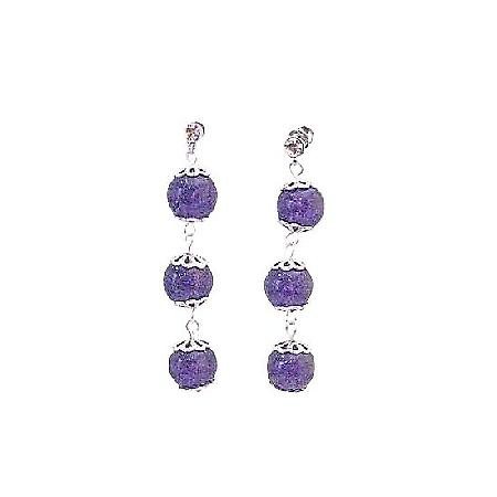 Amethyst Stone Stone Bead Silver Flower Spacer Surgical Post Earrings