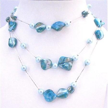 Blue Shell Necklace w/ Aquamarine Lite Blue Pearls 3 Stranded Necklace