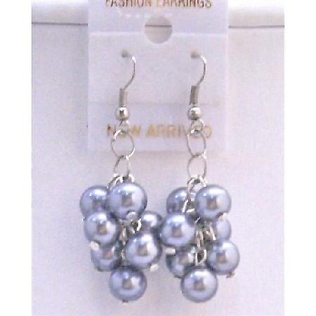 Synthetic Grey Pearls Chandelier Earrings Grape Bunch Pearls Earrings