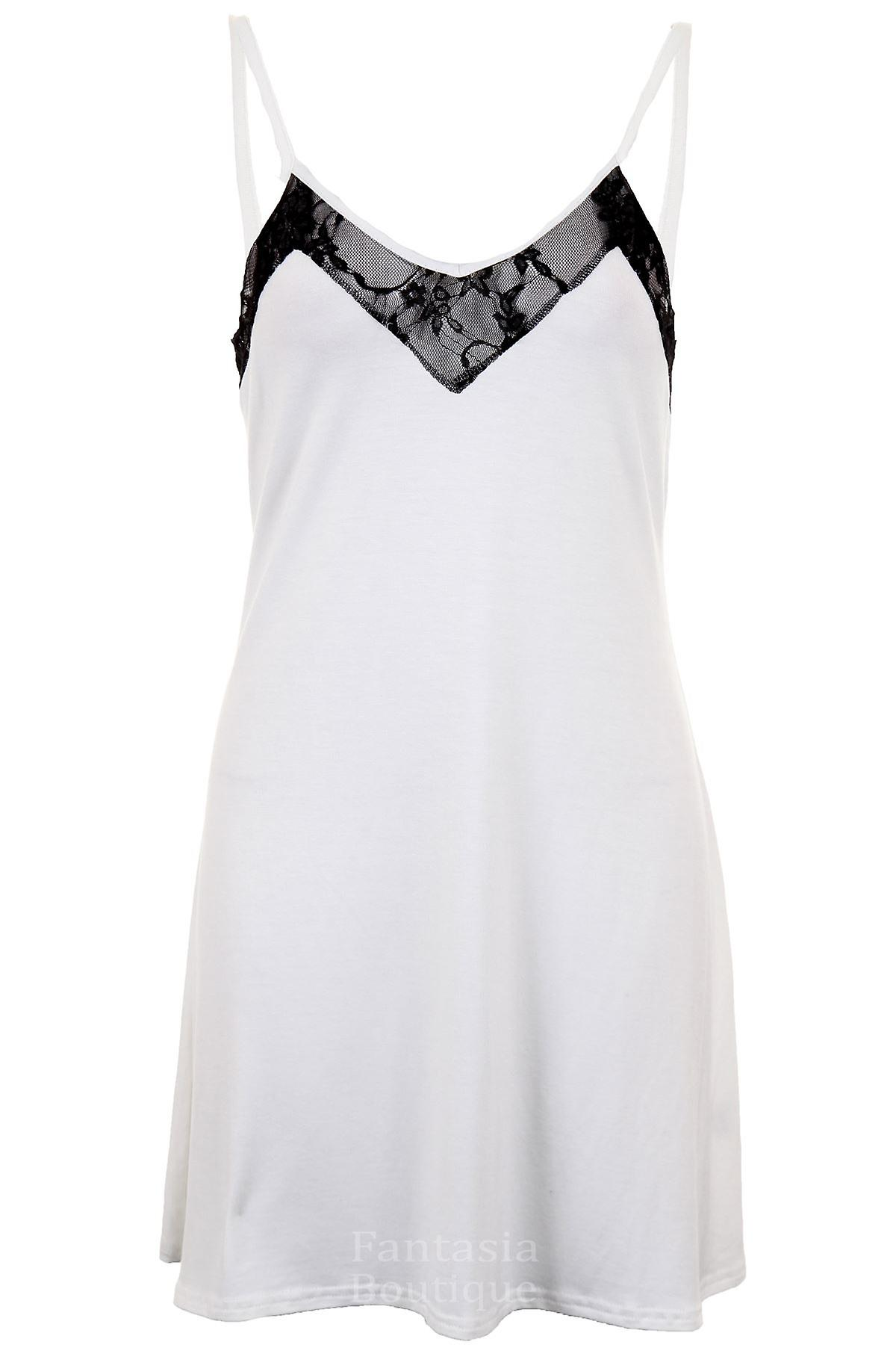 Ladies Casual V Lace Neck Thin Strap Loungewear Flare Top Women's Dress