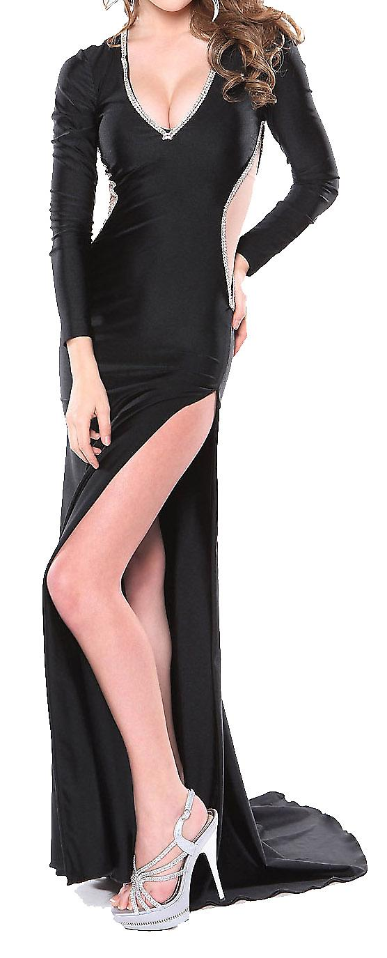 Waooh - slit evening dress on the side Ilso