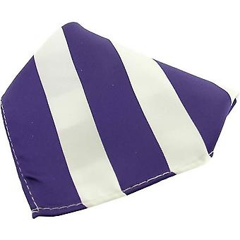 David Van Hagen Striped Polyester Pocket Square - Purple/White