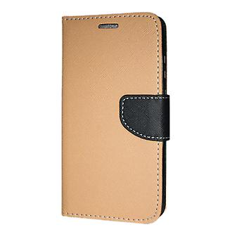 Samsung Galaxy A70 (A705) Wallet case Fancy Case + hand Strap gold-Black