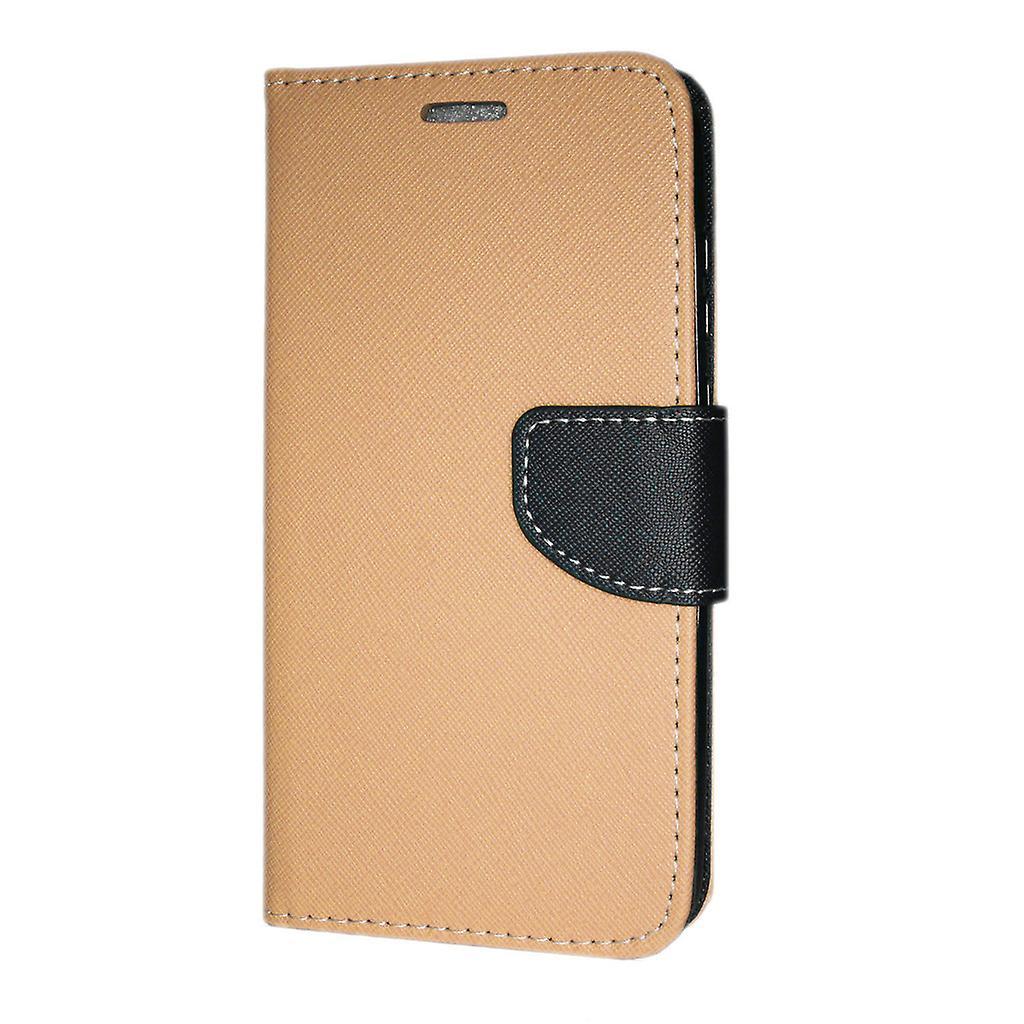 Samsung Galaxy A30 (A305) Wallet case Fancy Case + hand Strap gold-Black