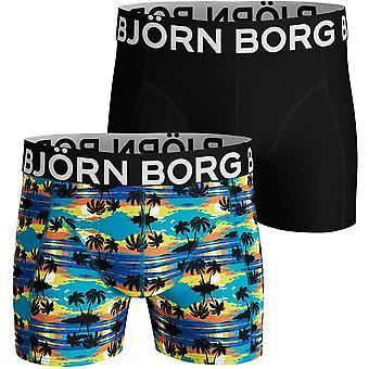 Bjorn Borg 2-Pack Hawaii Sunset & Solid Boxer Trunks, Blue/Black