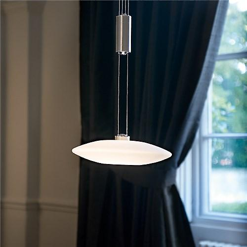 Endon 96511-MN Musette Modern Chrome Rise And Fall Pendant With Matt Opal Glass