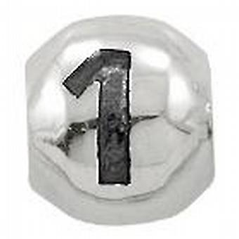 Toc Beadz Sterling Silver Number 1 9mm Slide-on Bead