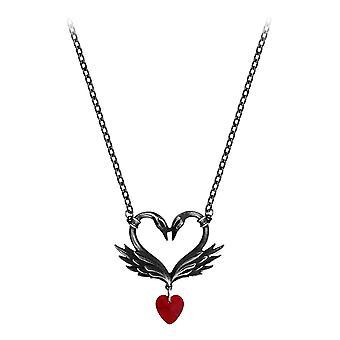 Alchimie gothique le cygne noir Romance pendentif en étain