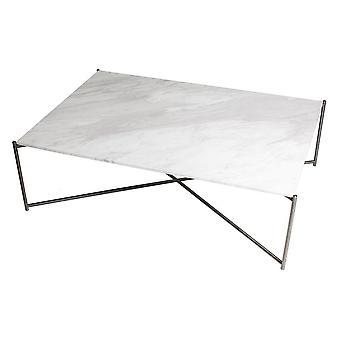 Gillmore Space White Marble Rectangular Coffee Table With Gun Metal Cross Base