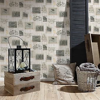A.S. Creation AS Creation Cycling Pattern Wallpaper Bicycle Picture Photo Frame Motif 335361