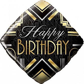 Qualatex 18 Inch Birthday Art Deco Diamond Foil Balloon