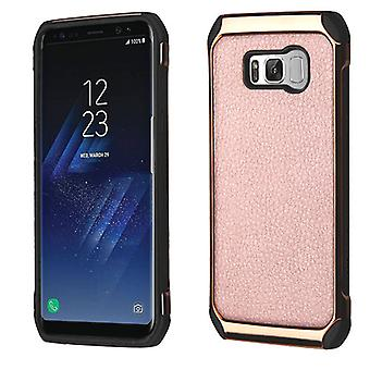 ASMYNA Rose Gold Lychee Grain(Rose Gold Plating)/Black Astronoot Protector Cover for Galaxy S8 Plus