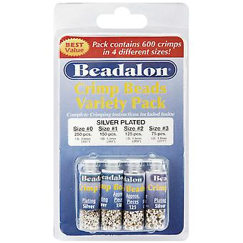 Crimp Bead Variety Pack Sizes #0, #1, #2, #3 600 Pkg Silver Plated 305B 101