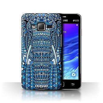 STUFF4 Tilfelle/Cover for Samsung Z1/Z130/elefant-blå/Aztec dyr