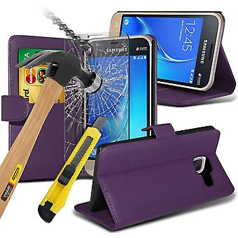 i-Tronixs Samsung Galaxy J5 2016   PU Leather Wallet Flip Case Cover + Glass Screen Protector -Purple