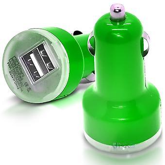 ONX3 HTC Desire 10 Lifestyle groene Twin Port USB Mini opsommingsteken In auto laderadapter