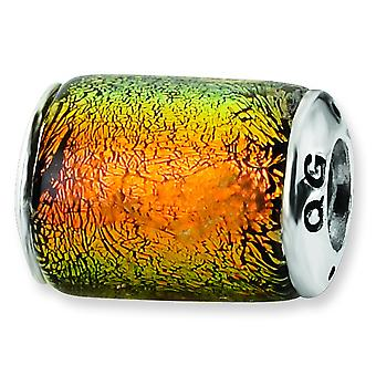 Sterlingsilber antik-Finish Reflexionen Orange Dichroic Glas Barrel Bead Charm