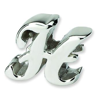Sterling Silver Polished Reflections Letter H Script Bead Charm
