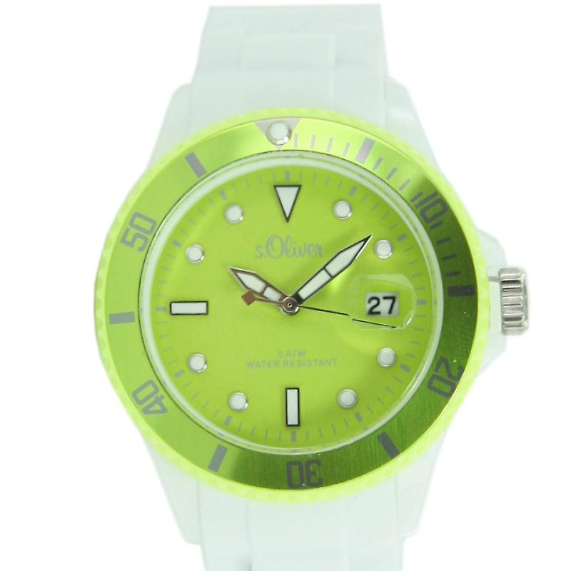 s.Oliver ladies watch Silicon strap watch white light green SO-2718-PQ