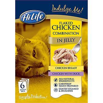 Hilife forkæle mig kat pose flager kylling kombination i Jelly enkeltnumre 6x80g (pakke med 3)