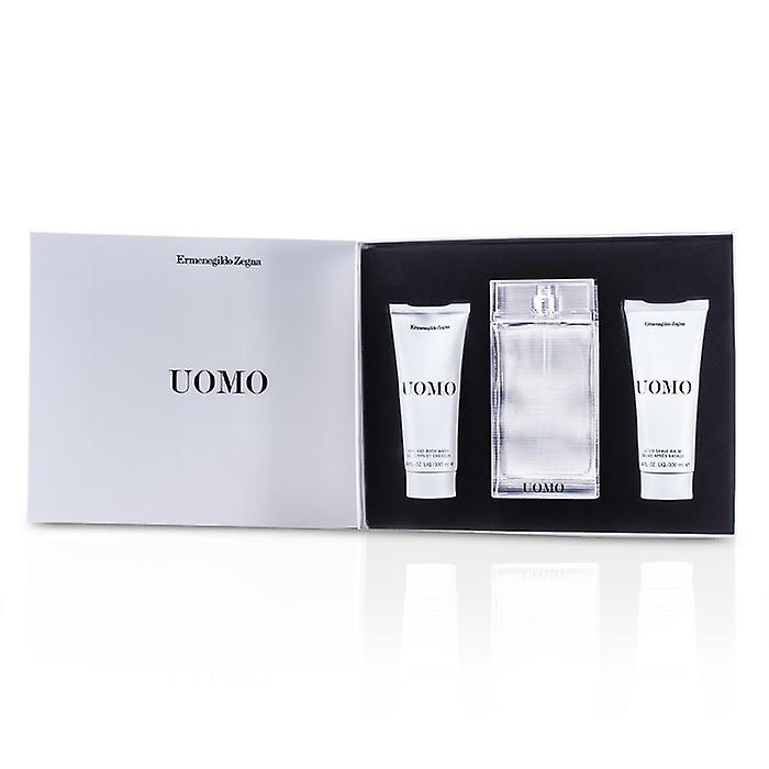 Ermenegildo Zegna Uomo Coffret: Eau De Toilette Spray 100ml / 3,4 oz + efter Shave Balm 100 ml / 3,4 oz + hår & kroppen tvätt 100 ml / 3,4 oz 3st