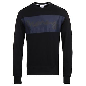 Money Mix Panel Black Crew Neck Sweatshirt