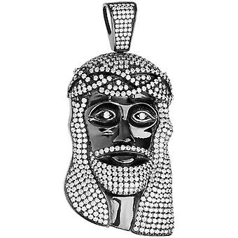 Premium Bling - 925 Sterling Silber Jesus Kopf Anhänger