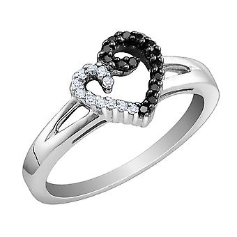 White and Black Diamond Heart Ring 1/5 Carat (ctw) in Sterling Silver